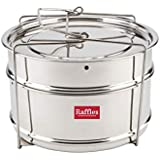 Raffles Premium SS Cooker Separator P5 Suitable For 6.5 Litres Prestige Deluxe Alpha Stainless Steel Outer Lid Pressure Cookers (2 Containers With Lifter, Stainless Steel)