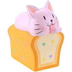 "VLAMPO Squishies Jumbo Scented Toast Gato Squishy Slow Rising Stress Decoración Juguetes 6.1"" (Rosa)"