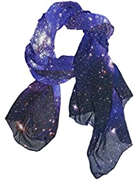 Women Scarf, Galaxy Peacock Leopard Skull Pattern Print Fashion Elegant Super Soft Long High Quality Polyester Sheer Wrap Shawl for Girls Lady