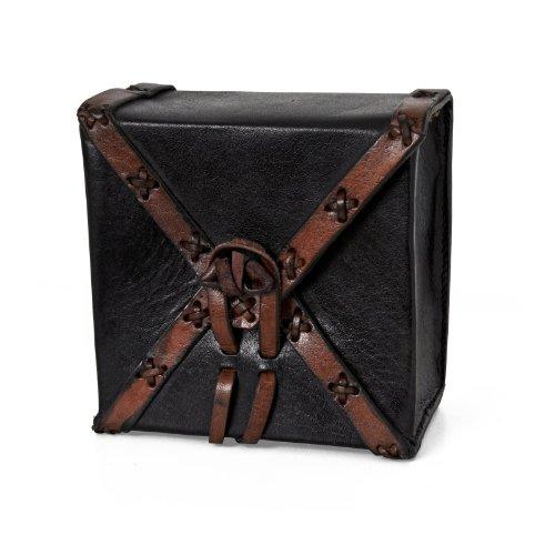 Leder Tasche für Gürtel Mittelalter schwarz braun quadratisch antikes Design LARP Beutel Pilger Koffer