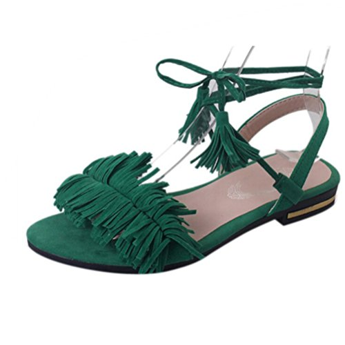 Ouneed®Femme Ouverte Bout Gladiator Sandale Plate Lacet au Cheville Vert