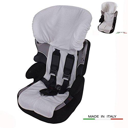 Babysanity Rivestimento copri seggiolino auto 9/36 e 15/36 kg DOPPIA SPUGNA DI COTONE 100% colore bianco