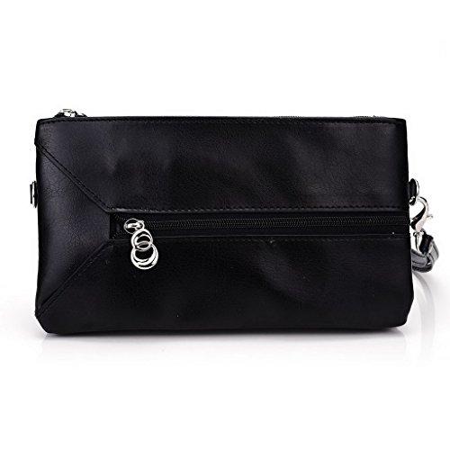 Kroo Pochette Portefeuille en Cuir de Femme avec Bracelet Étui pour Allview P7Bouddhisme) noir - Noir/rouge noir - Black and Blue
