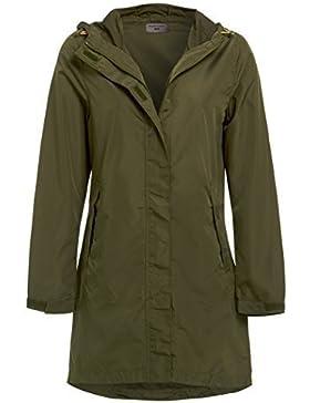 SS7Chubasquero con capucha para mujer, color caqui o negro, tallas grandes