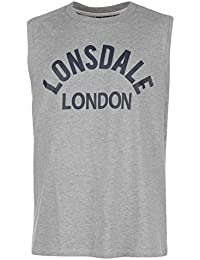 Lonsdale Mens Box Tank Vest Crew Neck Cotton Boxing Sleeveless MMA Sports Top