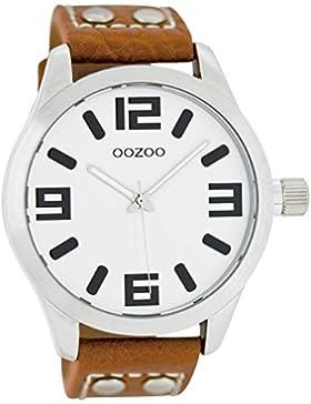 Oozoo Damenuhr mit Lederband 46 MM Weiss/Cognac C1051
