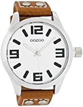 Oozoo - XXL Damenuhr mit Lederband - C4406 - Weiss/Cognac