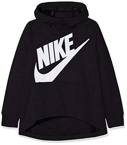 Nike Nike Mädchen G NSW Hoodie PO PE Sweatshirt, (Schwarz/Weiß), S