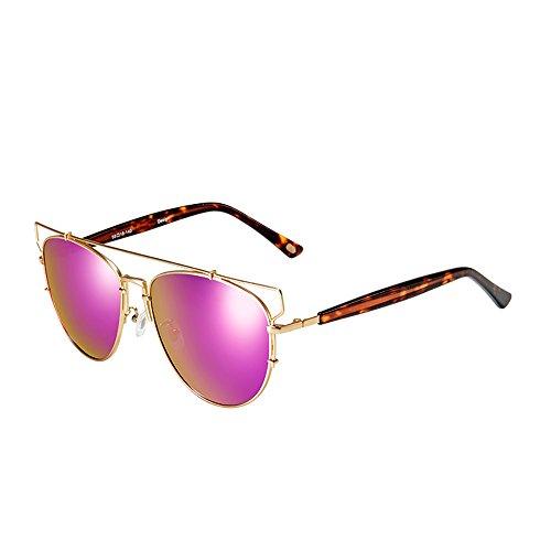 sole Occhiali Elegante struttura del metallo occhiali da sole polarizzati anti-UV unisex ( colore : Pink-purple )