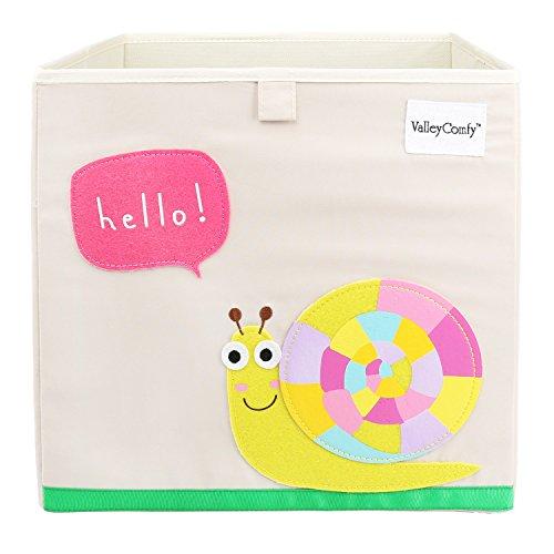 Valleycomfy Aufbewahrungsbox Spielzeugkiste Faltbar Cartoon Cube Organizer Closet Korb 33 x 33 x 33 cm, Schnecke -