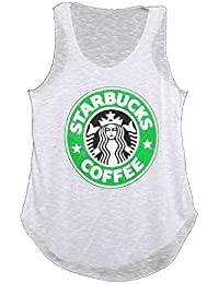 MIXLOT Neue Damen Starbucks- Logo Print -T-Shirt -Weste Coffee House Graphic Women Casual Vest Top Größe 36-42