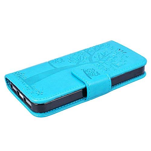 GrandEver iPhone SE / 5S / 5 Ledertasche Hülle Schutzhülle Eule und Baum Retro Tasche Lederhülle mit Handschlaufe Scratch Ledercase Schale Umschlag Stil Flip Wallet Case Cover mit Weiche Silikon Inner Blau
