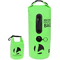 (Green) - 30L Floating Waterproof Dry Bag - Roll Top Backpack Sack with Bonus 1.5L Pouch, for Camping, Kayaking, Swimming, or Snowboarding by LISH
