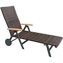 Rollliege Garten Malaga Sonnenliege Poly Rattan Geflecht Anthrazit Braun Gartenliege Rollbar Terrassenliege