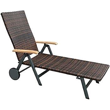 Rollliege Garten Malaga Sonnenliege Poly Rattan Geflecht Anthrazit Braun Gartenliege Rollbar Terrassenliege Verstellbar Balkonliege