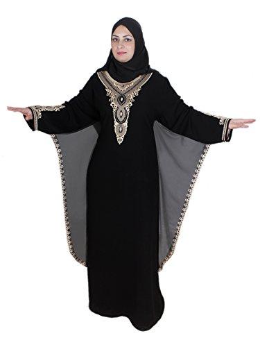 Abaya Festkleid , im Islamischen Stil, inkl. Passender Schleier/Kopftuch. schwarz-gold (52-54 (2XL))