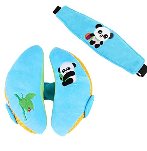 Lukis Kinder Schlafkissen Nackenkissen mit Stützfunktion Baby Kindersitz Zubehör für Auto mit Augenmaske 22x18x8,5cm Blau