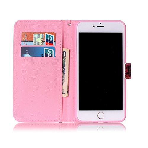 SainCat iPhone 7 Plus Custodia in Pelle,Cover iPhone 7 Plus Anti-Scratch Protettiva Caso Custodia Per iPhone 7 Plus, Elegante Creativa Dipinto Pattern Design PU Leather Flip Ultra Slim Sottile Morbida Sorriso Rosa