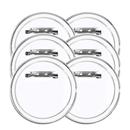LAKIND 36Pcs Buttons Transparente Buttons Selber Machen 45mm DIY Ansteckbuttons Mit Sicherheitsnadel für Foto Bild Kleidung (36pcs)