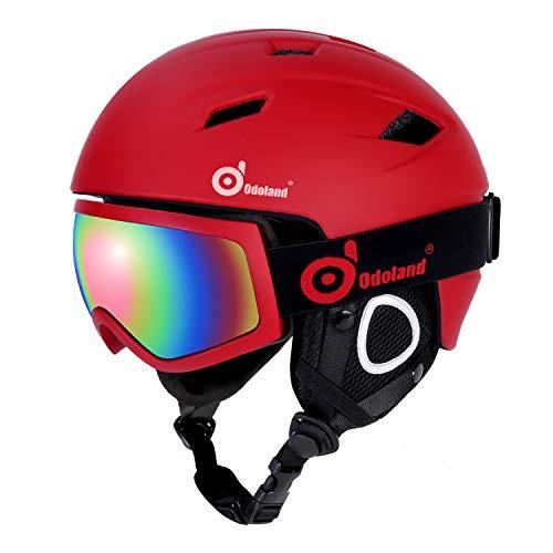 Odoland Skihelm und Skibrille Set, Snowboardhelm mit Snowboardbrille für Erwachsene und Kinder, Schneebrille UV 400 Schutz Windwiderstand Snowboard Brille zum Skifahren und Bergsteigen Rot