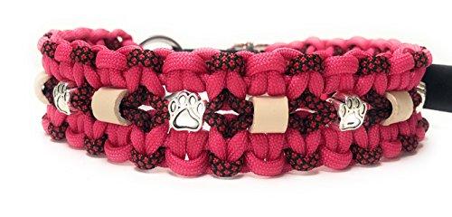Viva Nature EM-Keramik Zeckenhalsband Zecken-Schutz-Halsband/verstellbar Paracord (35-45 cm, Pink)