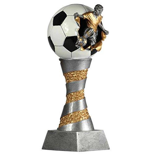 Pokal Fußball Lyon exclusiv aus Resin silber/gold handbemalt, 26 cm hoch