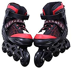 Cable World Latest Inline Skates Size Adjustable All Pure PU Wheels it has Aluminum-Alloy which is Strong with LED Flash Light on one Wheels ( Red )