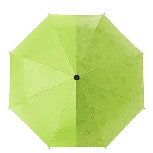DORRISO Innovador Mujer Paraguas Plegable Color Cambiando FlorP araguas Impermeable Antiviento Paraguas Viaje Paraguas Verde A