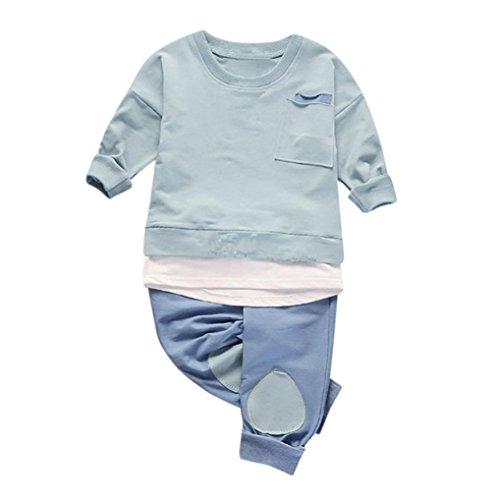 Bekleidung Longra Baby Kinderkleidung für Mädchen Jungen Langarm Tops Shirt + Hosen 2Pcs Set Anzug Outfits Kleidung(0-3Jahre) (100CM 18-24Monate, Green) (Hose Rock Star Mode)