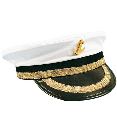 Kostüme Meer Unter Dem Zum (Kapitänsmütze mit Anker verziert Seemann maritim Kreuzfahrt Kapitän Schiff)