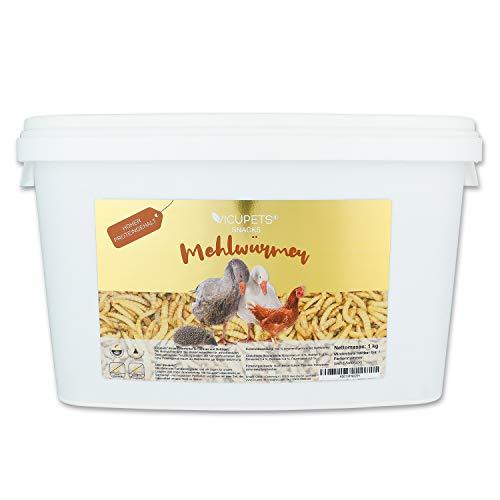 Vicupets® Mehlwürmer getrocknet I 1kg Würmer I Insekten Snack für Vögel, Hühner, Hamster, Igel, Enten, Fische und Reptilien I Hoher Proteingehalt