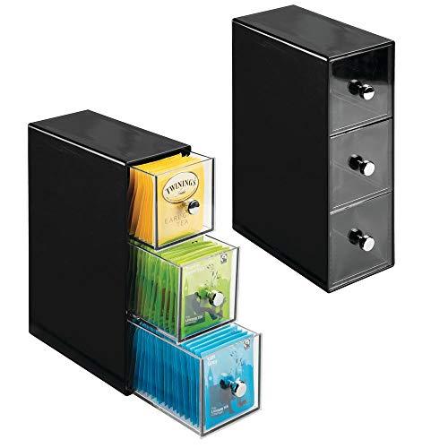 mDesign 2er-Set Küchen Organizer mit je drei Schubladen – Aufbewahrungsbox für Teebeutel, Kaffeepads, Süßungsmittel und mehr – Teekiste aus Kunststoff – schwarz/durchsichtig