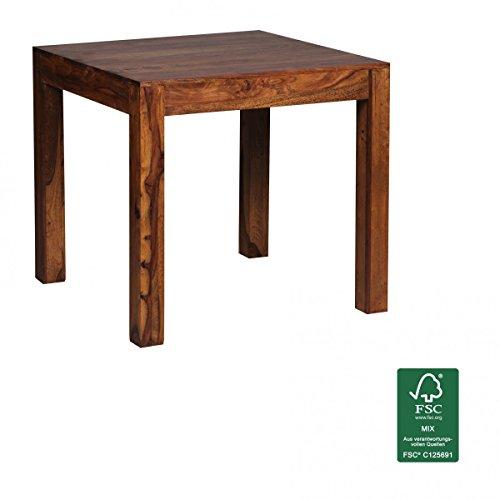 FineBuy Design Esstisch 80 x 80 x 76 cm dunkel-braun aus Sheesham Massiv-Holz   Moderner Echtholz Esszimmertisch Palisander für 2-4 Personen   Holztisch Küche Quadratisch   Landhaus Esszimmer-Möbel