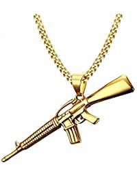 Impression Solid Gold AK-47 Rifle Gun Hip HOP Style with 18K Gold Plated Stainless Steel Pendant for Men