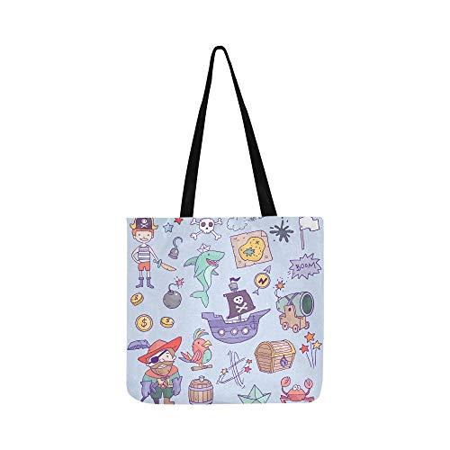 Nette Pirat und Hai im Meer Canvas Tote Handtasche Schultertasche Crossbody Taschen Geldbörsen für Männer und Frauen ()