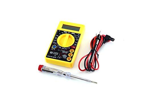 Multimetro Digitale + Cercafase GRATIS – Misuratore Digitale DMM per Test della Resistenza, Corrente Elettrica ,Tensione e Voltaggio, DC AC per Auto di Colore Nero/Giallo