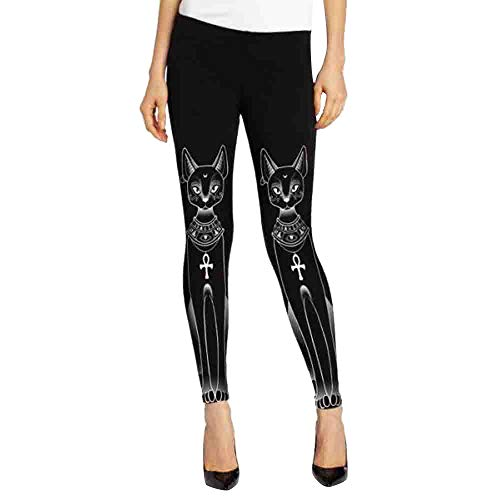 Tefamore Femmes Égyptienne Cat Stamp Hippie Gothique Skinny Pantalons Casual Collants Leggings(XXL,Noir)