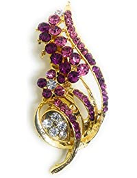 Saree Pin Brooch For Women, Girls & Men, Gold Tone, Pink Color Stone Stud