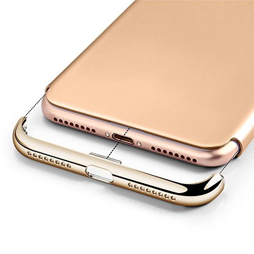 Apple iPhone 7 Plus Cover adamark 3 in 1 Non Slip superficie antiurto Custodia Electro placcatura contatti consistenza Protector Disk Cover per Apple Iphone 7 Plus Custodia Rigida Case Cover, nero oro