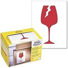 Avery Zweckform Warnetiketten 7251 Symbol: Vorsicht zerbrechlich, in leuchtrot (78 x 100 mm, 200 Etiketten auf Rolle) im Kartonspender