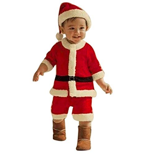 Costume di Babbo Natale Bambino Santa Christmas da set vestiti,4PCS Natal stabilito rosso dell'insieme vestiti ragaz neonate dei caprBametti + Tops Pants Hat Socks, Rawdah (Rosso(pantaloni), 7-8T)