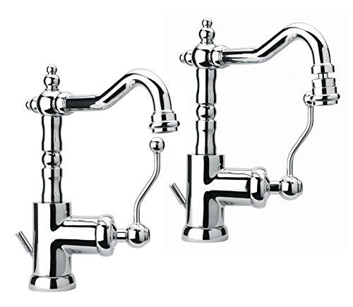 Yellowshop - set miscelatori rubinetteria bagno lavabo e bidet con snodo orientabile modello duke stile retrò classico vintage completo rubinetto con flex inox piletta sanitari