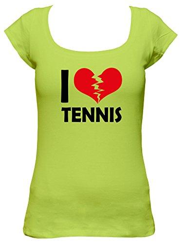 I don't love Tennis Fun Damen Boat Neck T-Shirt, Größe:XL;Farbe:mintgrün (Tennis Agassi Schläger)