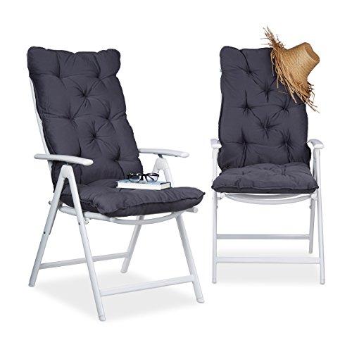 Relaxdays Juego de Cojines para sillón de Exterior Acolchados, Algodón, Gris, 115x47x9 cm