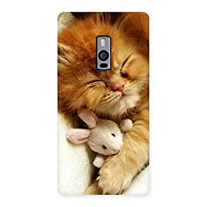 Special Sleeping Cat with Bunny Multicolor Back Case Cover for OnePlus Two