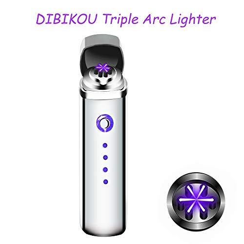 sunglights @ Fünf Farben Elektrische Dual Arc Zigarre Zigarette Rohr Feuerzeug Bonus Coil USB Feuerzeug winddicht wasserabweisend mit Box silber