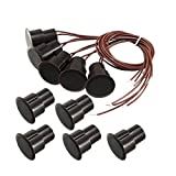 ZCHXD 5pcs RC-36 NC Recessed Wired Security Window Door Contact Sensor Alarm Magnetic Reed Switch Brown