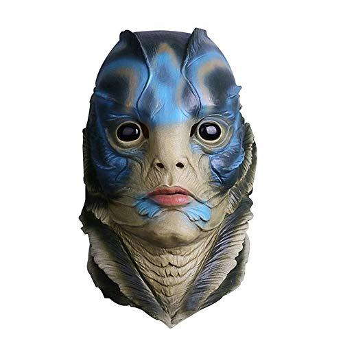 JINFAN Halloween-Maske, Festliche Maske Halloween Maske Horror Fisch Mann Maske Halloween Parodie Maske Festival Party Performance Requisiten Latex Material -
