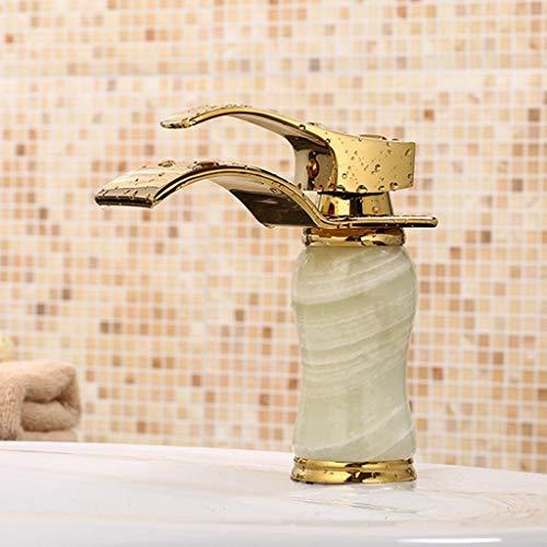 DFQX Wasserhahn , Kupfer Jade Gold Innovatives Design Entenschnabel Küche Einloch-Becken Warm- und Kaltwasserhähne