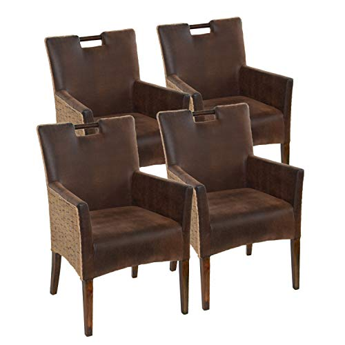 casamia Rattan-Armlehner Sessel-Set Bilbao 4 Stück vollgepolstert Polster Prairie braun One Size